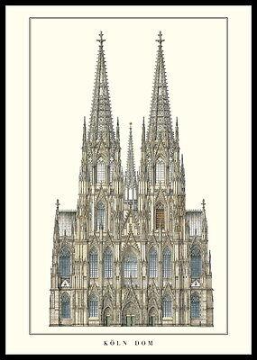 Kölner Dom Poster Kunstdruck Bild mit Alu Rahmen in schwarz 100x70cm