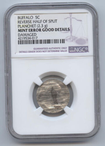 Buffalo Nickel (5c) Reverse Half Of Split Planchet (2.3gr)-ngc Good Details-rare