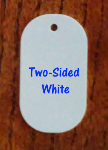 2 Sided White Gloss Aluminum Dye Sublimation Dog Tag Blanks - 50 Piece Lots