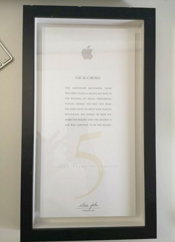 Apple 5 Year Service Award employee - with Steve Jobs text * digital autograph
