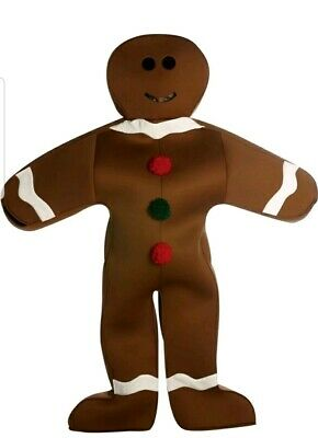 Mr. Gingerbread Man Cookie Mascot Halloween Christmas Dress Up Adult Costume
