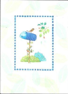 Brown Sparrow Bird On Blue Mailbox - Blank Note Cards By Hallmark - Set of 20