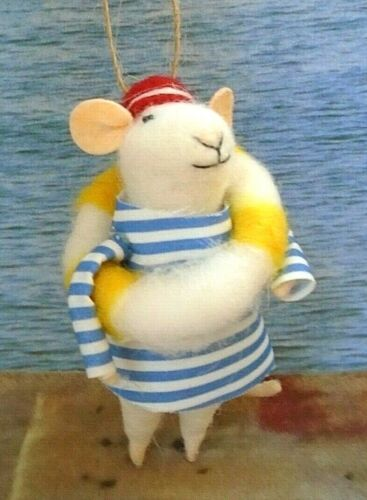 Felted Wool Sailor Mouse with Life Ring Ornament
