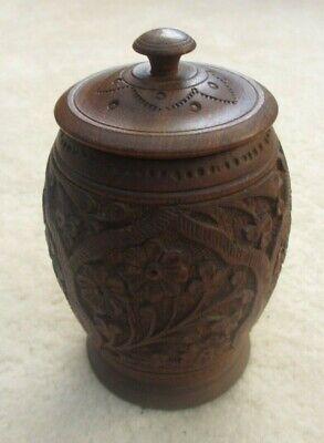 Vintage carved wooden lidded pot, probably Indian