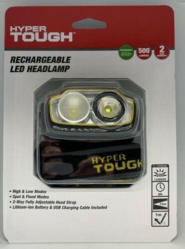 Hyper Tough 500-Lumen RECHARGEABLE LED HEADLAMP Lithium-Ion Battery Head Strap
