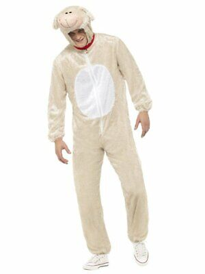 Smiffys Lamb Sheep Jumpsuit Furry Animals Adult Unisex Halloween Costume 31676](Sheep Costume Halloween)
