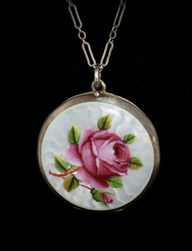 STUNNING! Antique *800 SILVER* Double Sided *ENAMEL GUILLOCHE* Locket Necklace