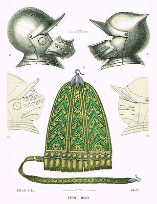 "Chromolithograph of MIDDLE AGES - ""DECORATIVE ARMOR"" by Hefner-Alteneck in 1840"