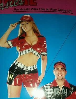 Pit Crew Costume ( Race Car Driver Pit Crew Sexy Adult Womens Costume NASCAR MED FREE HAT)