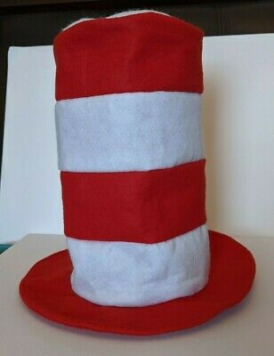 vtg Dr. Seuss Red White Stovepipe Hat faux Cat in the Hat Halloween Costume
