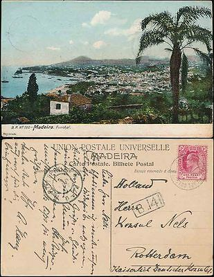 MADEIRA 1906 PPC POSTED CGH CAPE COLONY OCEAN POST OFFICE to ROTTERDAM
