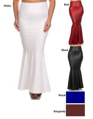 PLUS SIZE HIGH WAIST LONG FORM FITTING MERMAID MAXI SKIRT FAUX LEATHER XL - - Long Mermaid Skirts