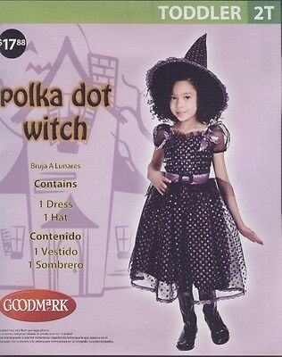 Black Purple Polka Dot Witch Toddler Halloween Costume Dress Hat 2T BNIP - Witch Halloween Costume Toddler