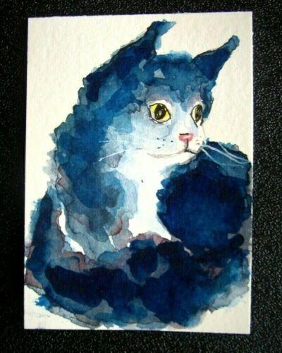 ACEO original  watercolor blot /ink black kitten cat art card signed tarrantts
