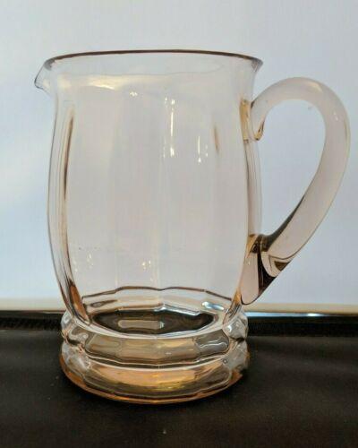 Vintage MacBeth Evans Depression Glass Optic Pink Ribbed Pitcher