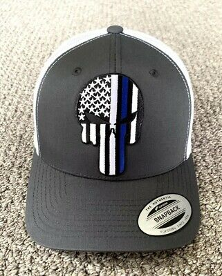 Blue Police Hat (PUNISHER Thin Blue Line Police Hat USA Flag SnapBack Cap Handcrafted in the)