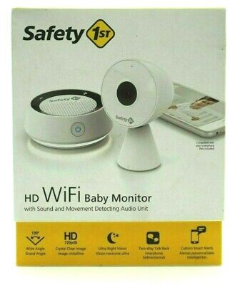 Safety 1st White HD WiFi Baby Monitor Sound Movement Detecting Audio Unit MO163