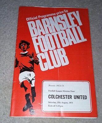 Barnsley v Colchester United football programme Div 4 25/8/73