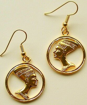 NEFERTITI EARRINGS , Royal Profile of the most Beautiful Queen of Egypt