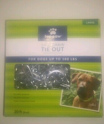 TOPPAW 20 FT Dog run (Pet) TIE OUT CHAIN BIG DOGS UP TO 100 LB TIEOUT TIE-OUT