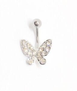 Butterfly Belly Bar Crystal Navel Ring Gemstone Diamante  Navel Bar
