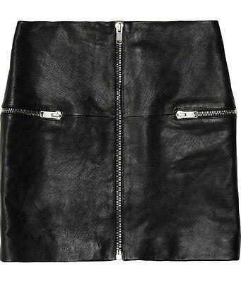 Saint Laurent YSL Black Zip-Front Leather Mini Skirt Size FR 36