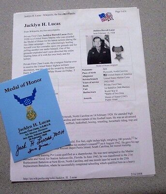 WW2 JACK LUCAS (1928-2008) MEDAL OF HONOR IWO JIMA SIGNED 8x10 AUTOGRAPH PHOTO