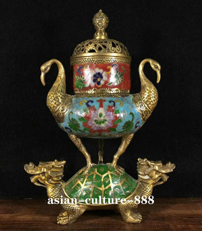 "11"" China Bronze Cloisonne Filigree Crane Dragon Tortoise Incense Burner Censer"