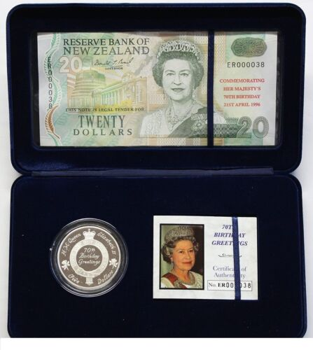 New Zealand - 1996 - $5 Proof Coin & $20 Overprint Banknote Set