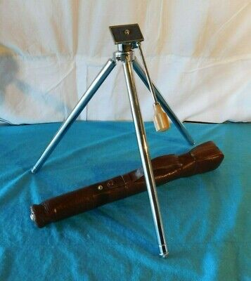 """Vintage Expandable Tripod Camera Stand Stainless Steel Brass 45"""" + Leather Case"""
