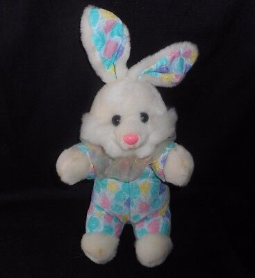 "12"" VINTAGE SOFT THINGS BABY WHITE BUNNY RABBIT FLOWERS STUFFED ANIMAL PLUSH TOY for sale  Bourbonnais"