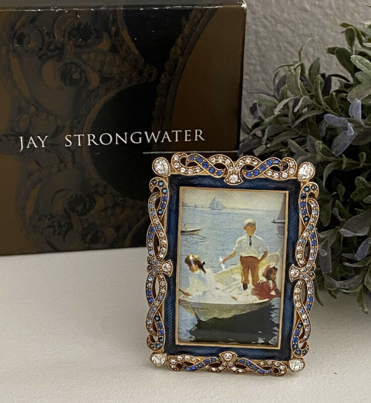 Jay Strongwater Nottingham Jeweled Braid Delft Garden Frame NIB