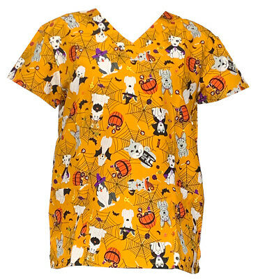 Womens Fashion Medical Nursing Scrub Tops Halloween Dogs XL - Halloween Nurses Scrubs