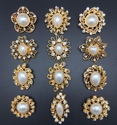 12pc/lot Mixed Gold White Pearl Rhinestone Crystal Brooch Pin DIY Bouquet B12MPG ()