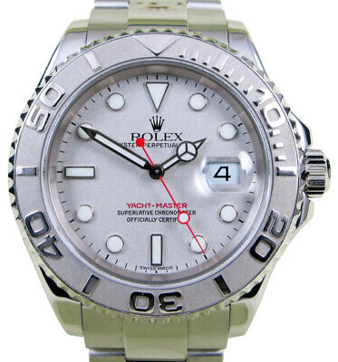 Rolex Yacht-Master Platinum & Steel Mens 40mm Automatic Watch Box/Papers P 16622