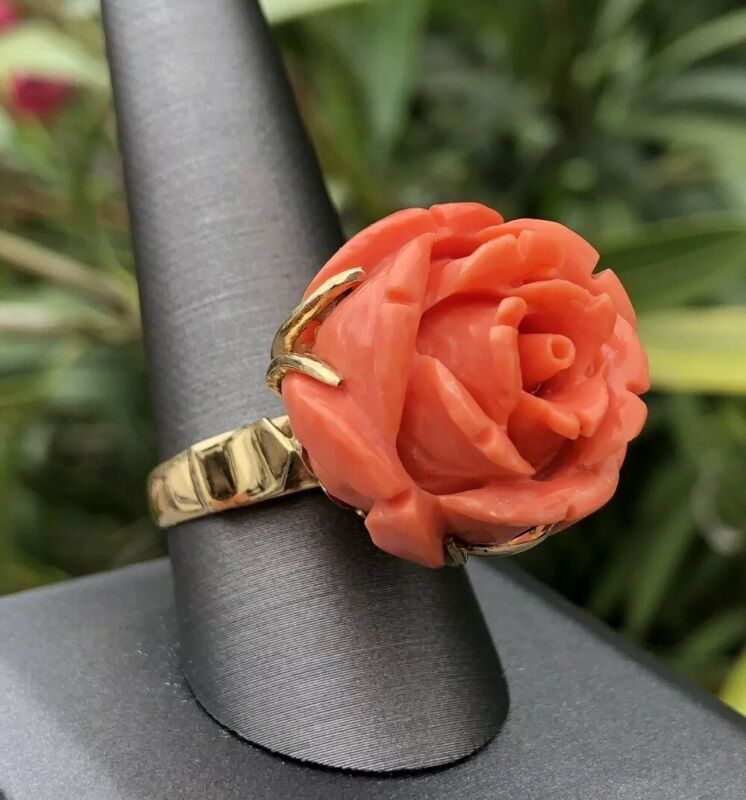 BIG Antique Old Chinese 18k Yellow Gold Carved Angel Skin Coral Flower Rose Ring