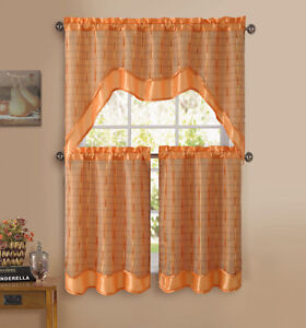 orange 3 pc kitchen window curtain set double layer 2 tiers 1 valance. Black Bedroom Furniture Sets. Home Design Ideas