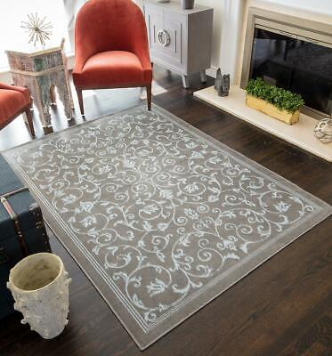 Contemporary Vines Floral Extra Soft All room Rug Set Gray Beige Blue 5x7 8x10 Floral Contemporary Rug