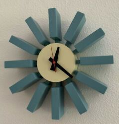 Mid Century Modern Nelson Block Clock in Powder Sky Blue Pre Loved