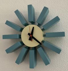 Mid Century Modern Nelson Block Clock in Powder Sky Blue circa 2005