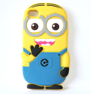 for iPod Touch 4th Gen - CUTE MINION YELLOW Soft Rubber Silicone Skin Case Cover