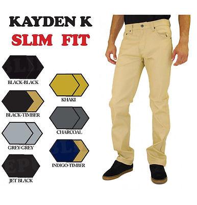 SLIM FIT Jeans Kayden K Black Khaki Blue Grey Twill Raw Material Mens Pants (Khaki Mens Jeans)