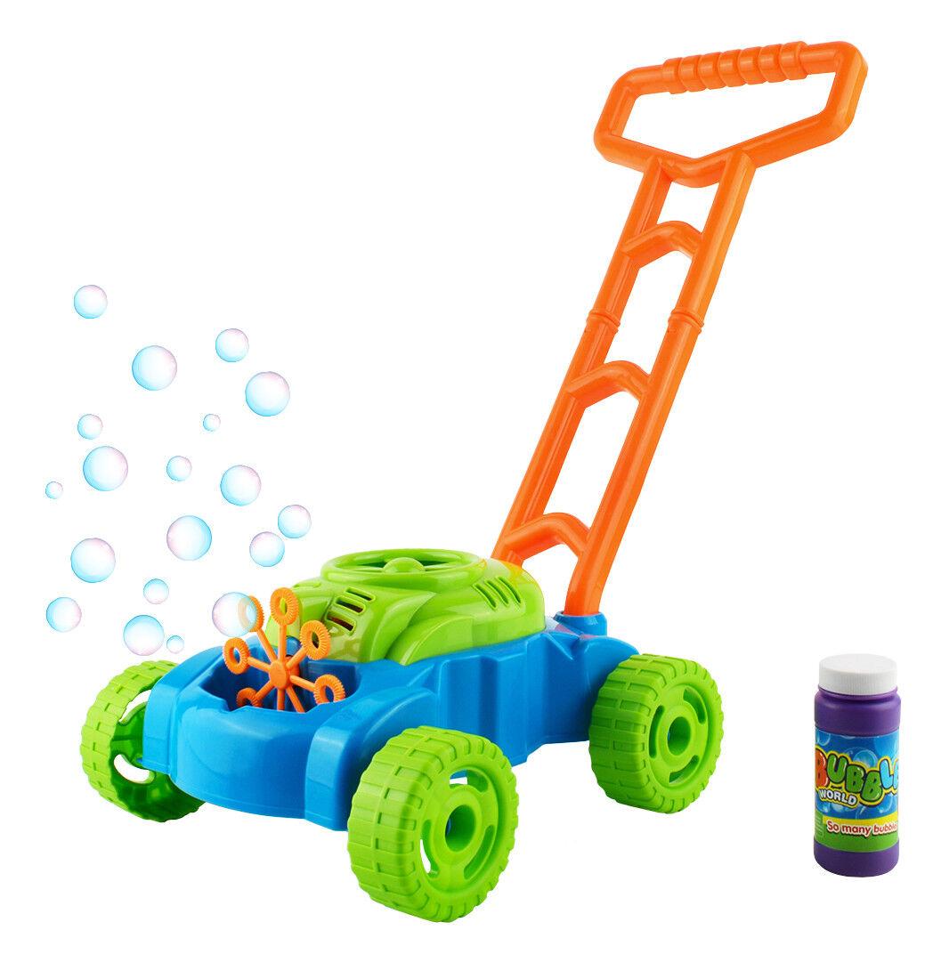 Seifenblasen Rasenmäher Kinder +118ml Flüssigkeit Batterie Betrieb Bubble  6342