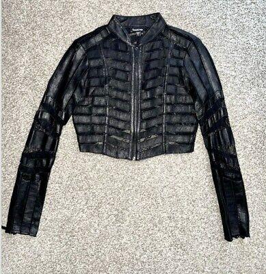 100% Genuine Leather bebe Black Lace Stripe Moto Babe Cropped Jacket (14)