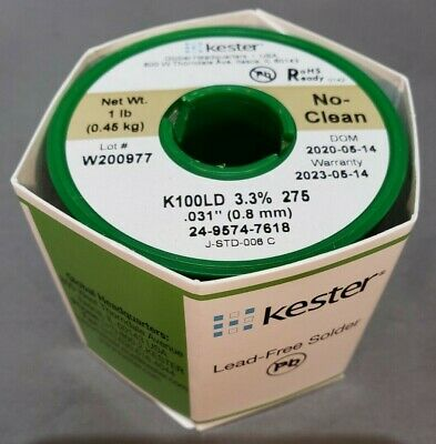 Kester 24-9574-7618 No-clean K100ld Wire Solder Lead-free 0.031dia Authentic