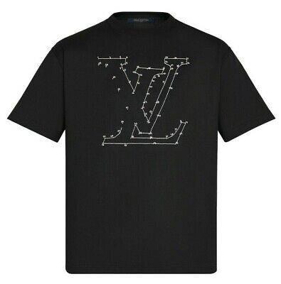 Louis Vuitton Stitch Embroidered T-Shirt. Black. Size M