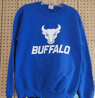 University At Buffalo UB Bulls White Logo Royal Blue Crewneck Sweater Sz XL