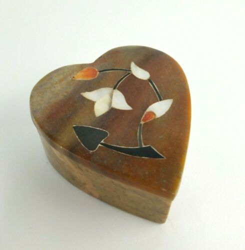 """Vintage Stone Heart Trinket Box w Mother of Pearl Flower Inlay - approx 3 x 2.5"""""""