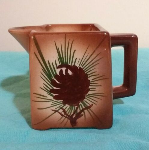 Vtg. Loveland Pottery Small Square Unique Pinecone Creamer Brown Mid-Century