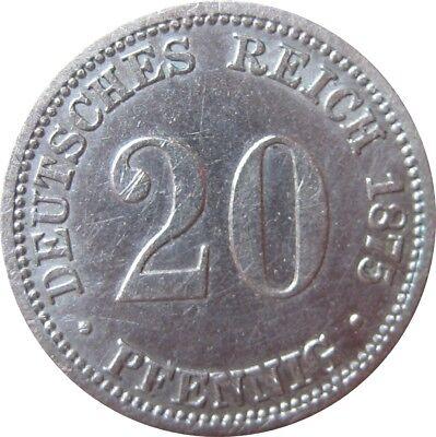 J 5  20 Pfennig Kaiserreich 1875 B in SS-VZ    666 040